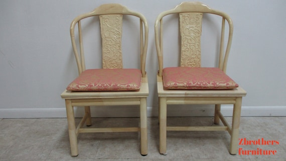 Vintage Henredon Faux Goatskin Pan Asian campaign dining room side chair C
