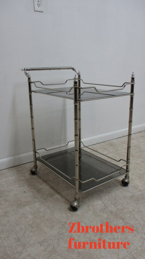 Vintage Mid Century Chrome Faux Bamboo T Tea Cart Bar Liquor Cabinet