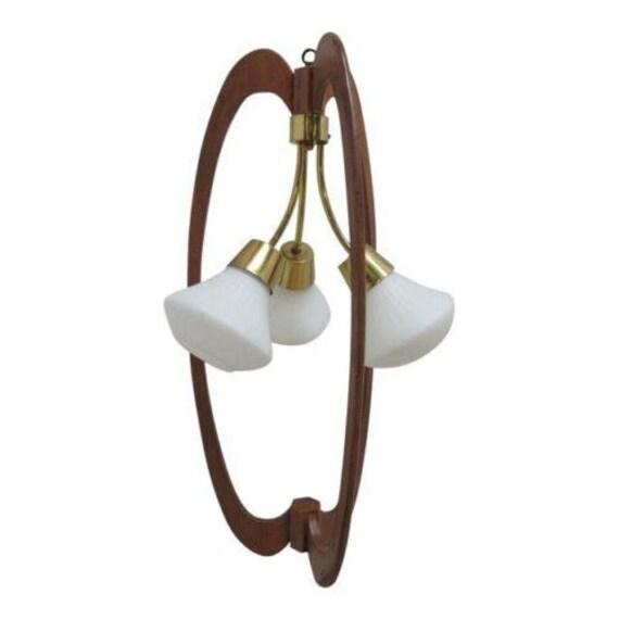 Vintage Mid Century Tiki Italian Brass Walnut Chandelier Light Murano
