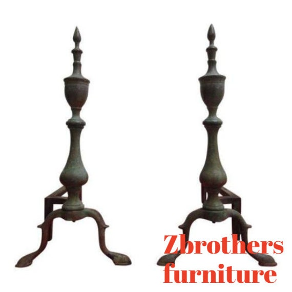 Antique Brass Williamsburg Style Finials Fire Place Tools Firedogs Andirons Set