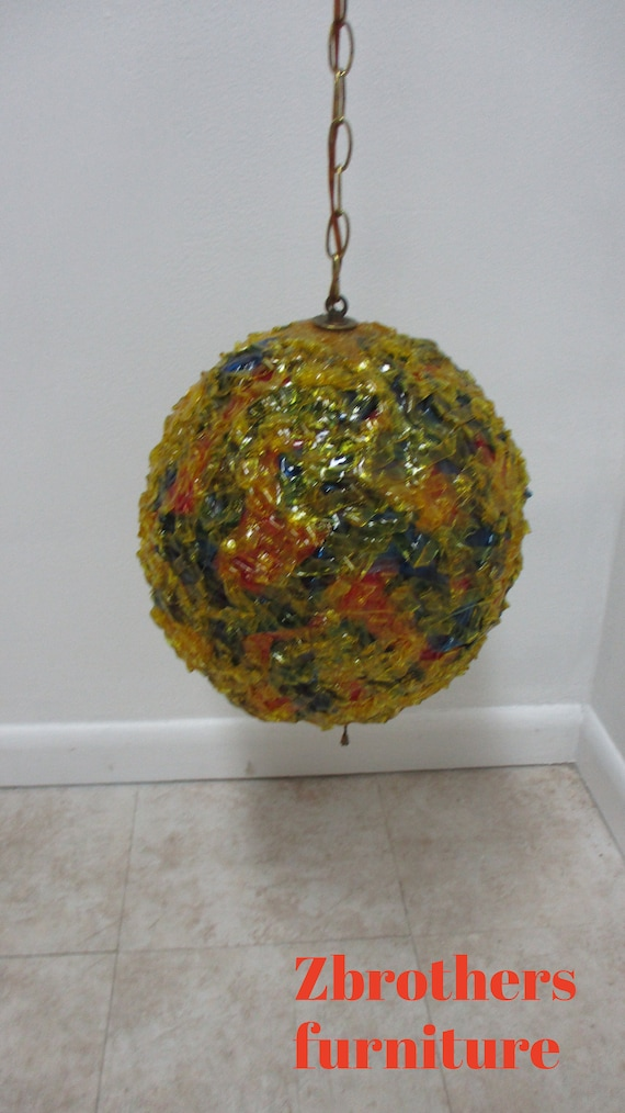 Vintage Mid Century Spun Plastic Floating Orb Psychedelic Light Chandelier A