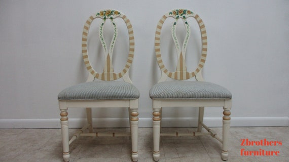 Pair Lexington Furniture Paint Decorated Balloon Back French Dining Side Chairs A