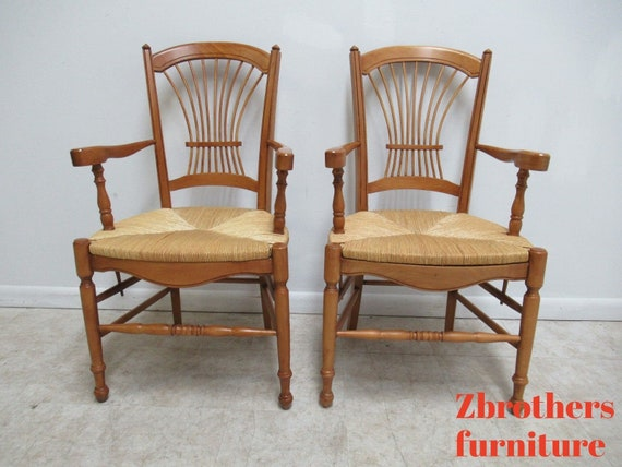Pair Hickory Chair Company Fan Back Windsor Rush Seat Dining Room Arm Chairs