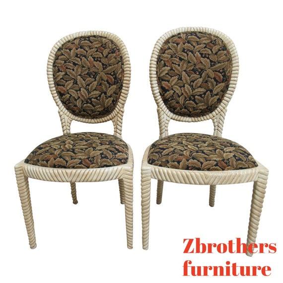 Pair Custom Italian Regency Rope Twisted Distressed Dining Room Side Chair A