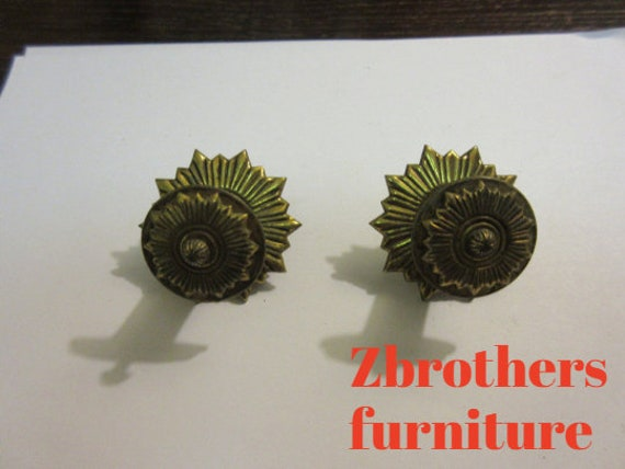2 Vintage Regency Brass Hardware Drawer pulls Handles Dresser pierce carved