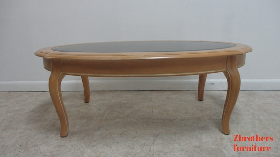 Ethan Allen Country French  Oval Bisque Coffee Table.
