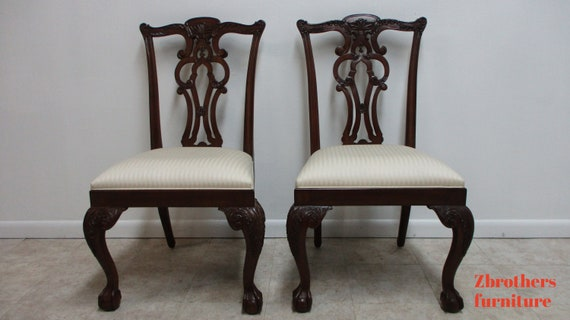 Pair Ethan Allen 18th Century Mahogany Ball Claw Chippendale Dining Chairs B