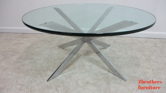Authentic VTG Mid Century Leon Rosen Jaxs Base Chrome Atomic Coffee Table