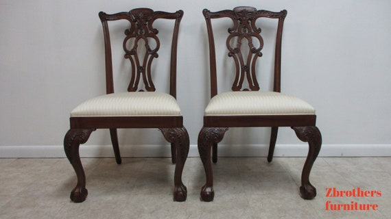 Pair Ethan Allen 18th Century Mahogany Ball Claw Chippendale Dining Chairs C