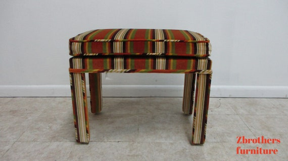 Vintage Italian Regency Fruit Striped Ottoman Foot stool Vanity Seat MCM  MOD  B