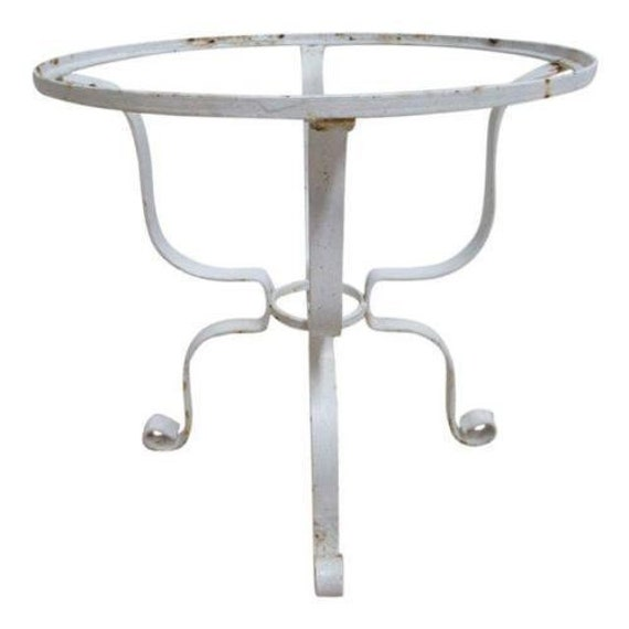 Vintage French Outdoor Round Patio Porch Lamp End Table A