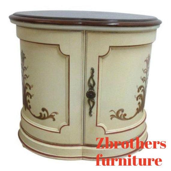 Vintage Custom Made Banded Clover Leaf Italian Regency Lamp End Table B