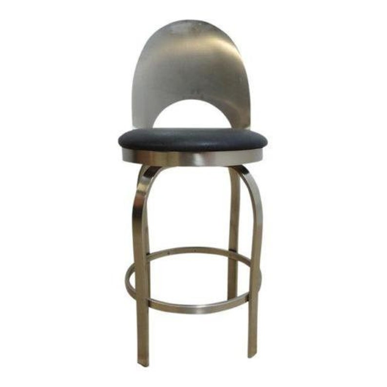 Wondrous Vintage Mid Century Metal Scoop Back Industrial Bar Counter Drafting Stool Chair Bralicious Painted Fabric Chair Ideas Braliciousco