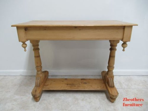 Antique Country Pine Sofa Work Table European Knotty Pine Console