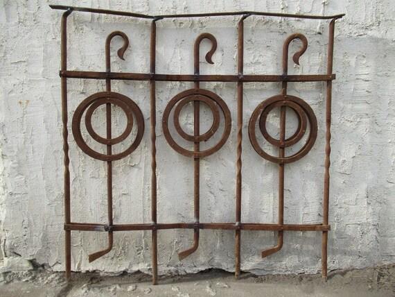 Antique Victorian Iron Gate Window Garden Fence Architectural Salvage Door #092