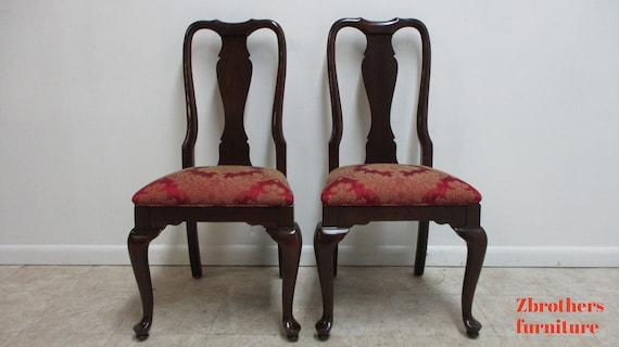 Pair Ethan Allen Georgian Court Queen Ann Dining Room side Chairs B