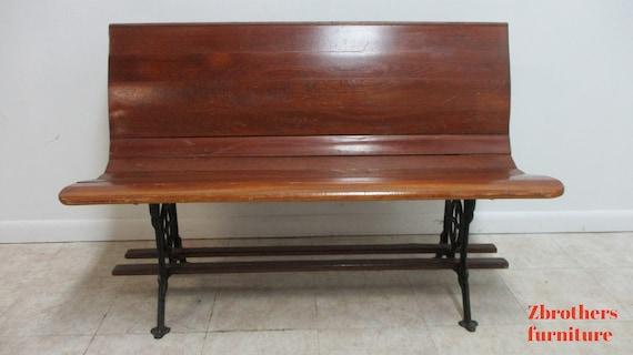 "Antique Bench Settee Victorian Cast Iron Oak Church Pew Railroad Gothic  48"" D"