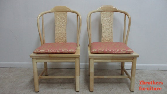 Vintage Henredon Faux Goatskin Pan Asian campaign dining room side chair