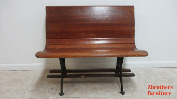 "Antique Bench Settee Victorian Cast Iron Oak Church Pew Railroad Gothic  37"" F"