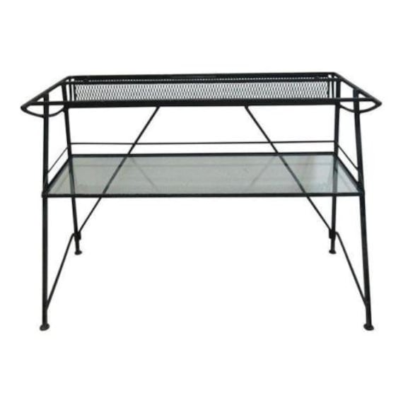 Vintage Industrial Steel Mesh Writing Desk Console Work Station Base Only