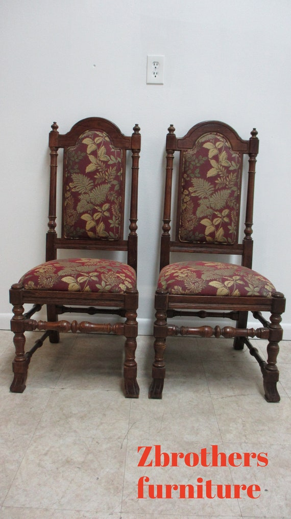 2 Ethan Allen Charter Oak Jacobean Dining Room Side Chairs  C