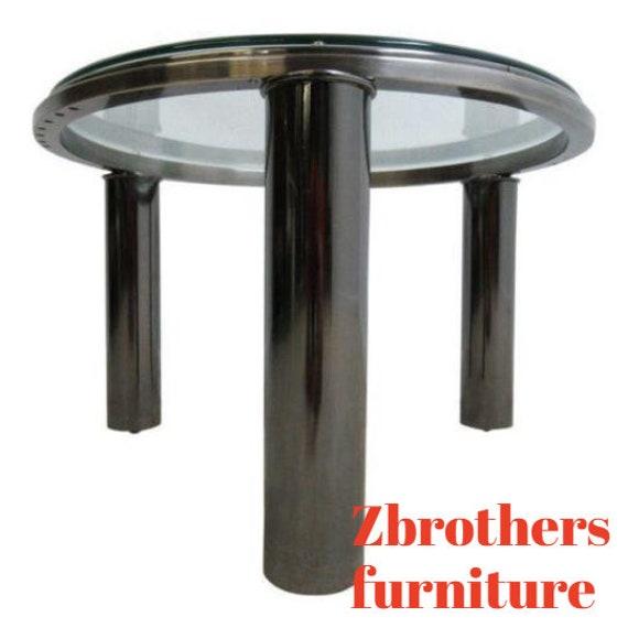 Vintage Round Floating Chrome Mid Century Lamp End Table Pedestal B