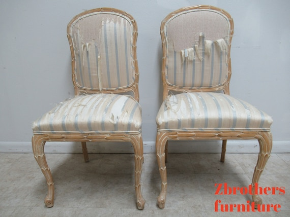 2 Century Furniture Fish Scales Carved Dining Room Side Chairs Italian Regency B