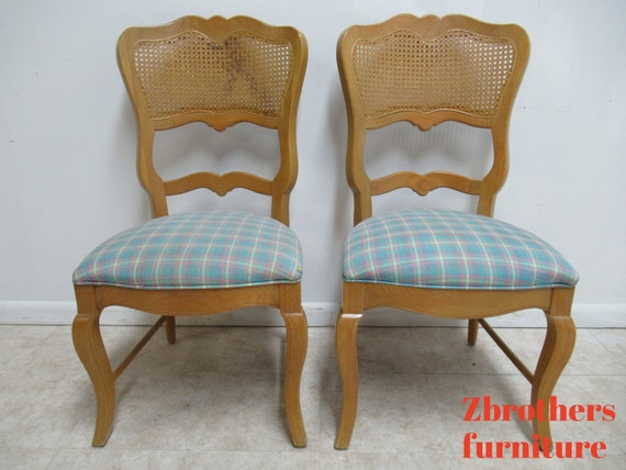 2 Century Furniture Oak French Country  Dining Room Cane  Arm Chairs B