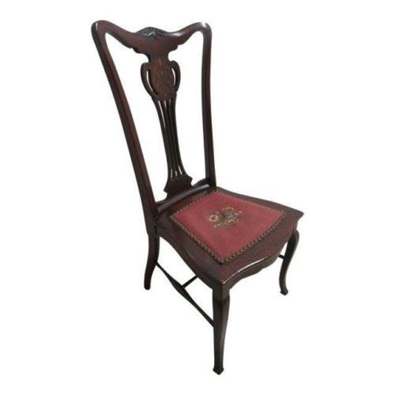 Antique Mahogany Pierce Carved Inlaid Ladies Music Needle Point Vanity Chair