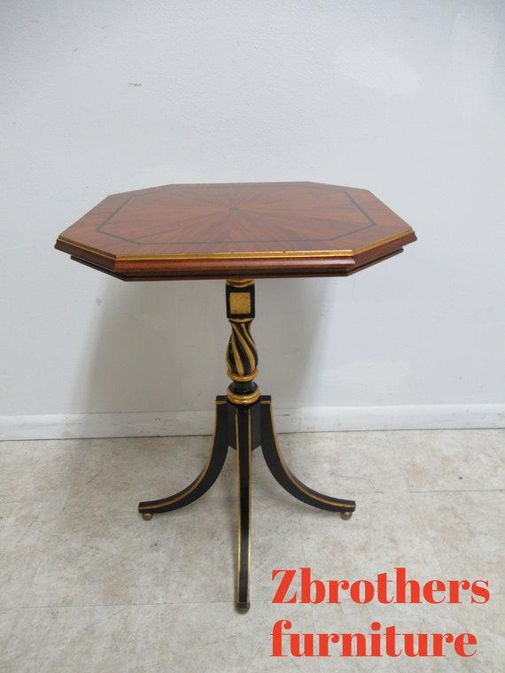 Custom Sunburst Mahogany French Regency Pedestal End Table