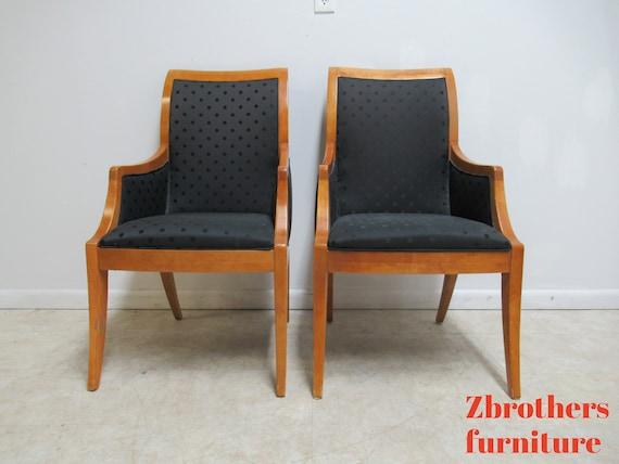 Pair Hickory White Genesis Neo Classical Dining Room Arm Chairs Biedermeier B