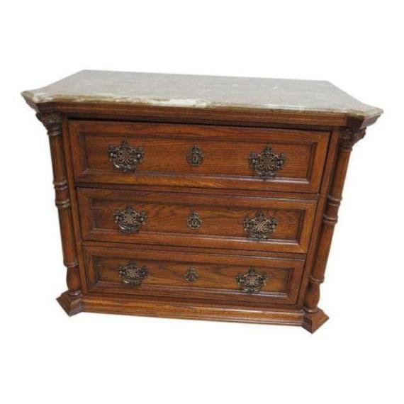 Pulaski Oak Faux marble top bachelors chest dresser server console Chippendale