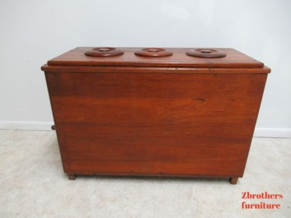 Antique Primitive Ice Cream Palor Ice Chest Freezer Rare 3 Flavors
