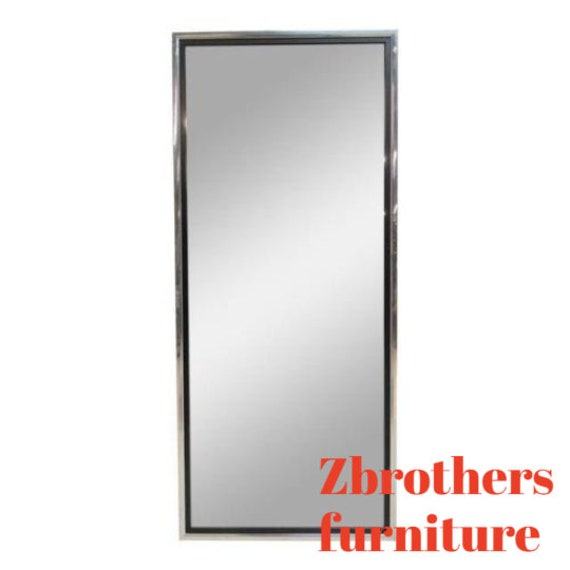 Vintage Mid Century Chrome Slender Hanging Wall Mirror A