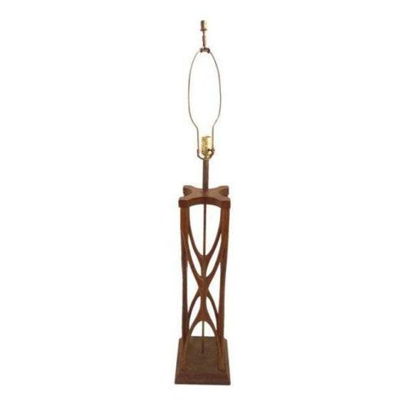 Danish Modern twisted brutalist large table lamp light mid century