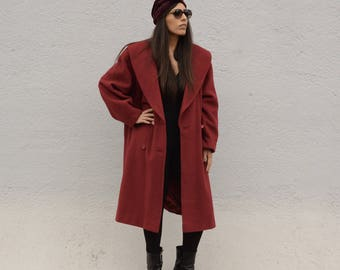Vintage Red Coat Years ' 80