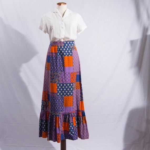 vintage '70s floral maxi-skirt