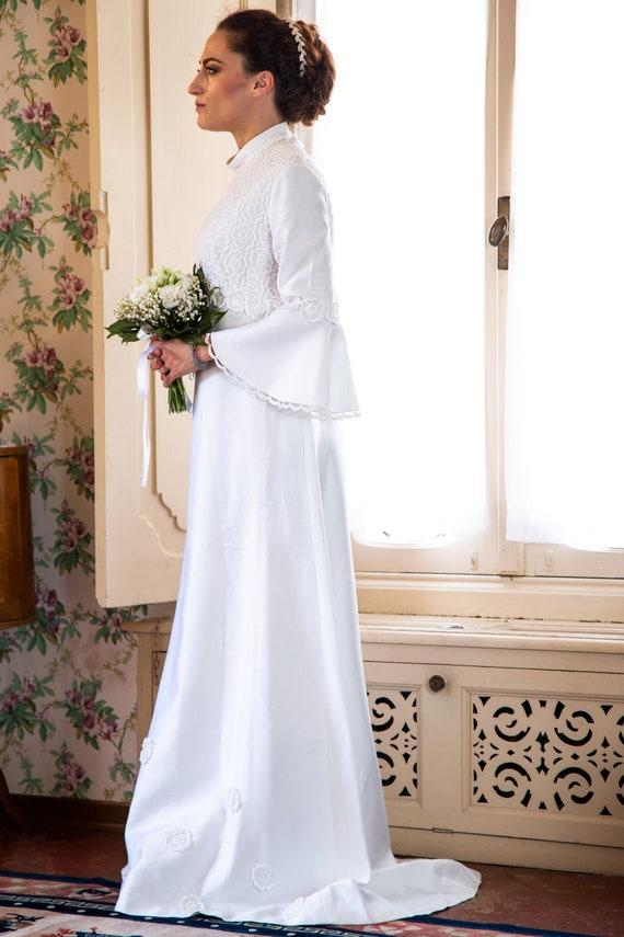 Abiti Da Sposa Anni 6070.Abito Da Sposa Vintage Anni 60 70 Bianco Etsy
