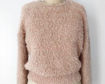 FREE SHIPPING- Fuzzy Sparkly Champagne Pink Sweater Laguna Moon