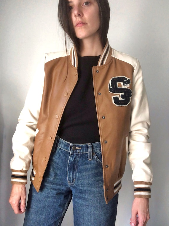 "Leather Varsity Bomber Jacket With ""S"" Emblem"