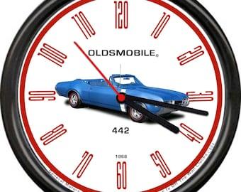 1964 1965 1966 1967 1968 1969 OLDSMOBILE 442 4-4-2 LEATHER CHROME LOGO KEYCHAIN