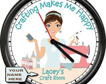 Crafting Makes Me Happy Sewing Room  Craft Supplies Sewing Machine Personalized With Your Name Gift Sign Wall Clock