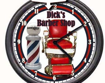 Barber Shop Chair Pole Your Name Personalized Retro Vintage Gift Wall Clock