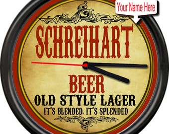 Personalized Schreihart Or Your Own Name Beer Brewing Company Tavern Man Cave Home Brew Retro Bar Sign Wall Clock