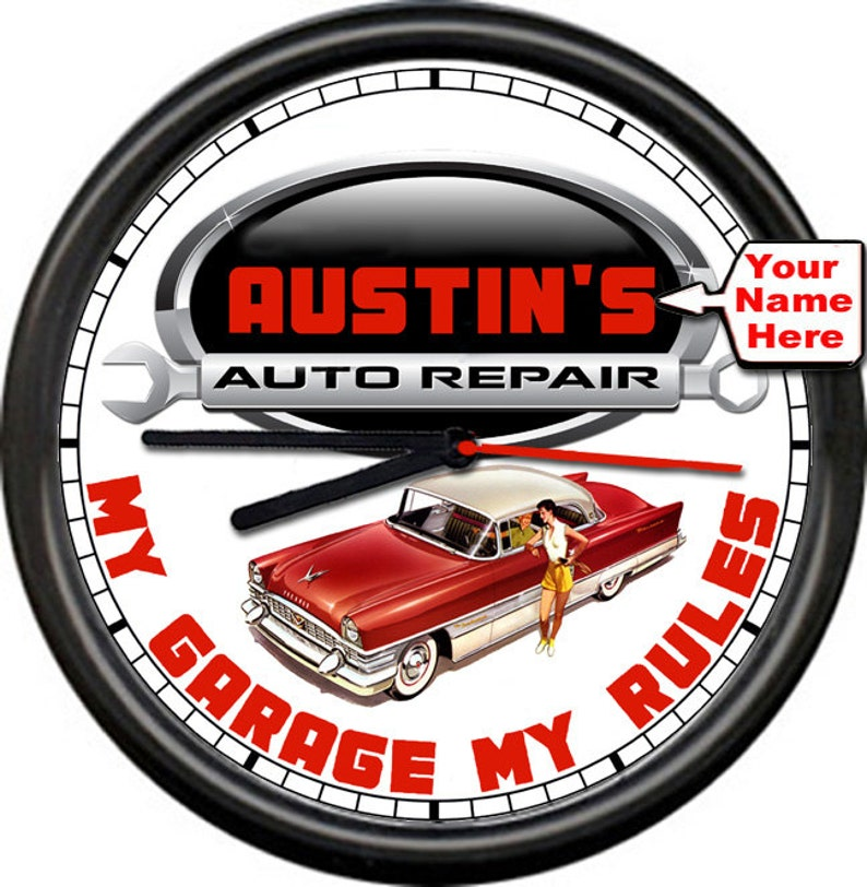 My Garage My Rules Auto Repair Home Shop Dad's Father's Day Your Name  Personalized Wall Clock