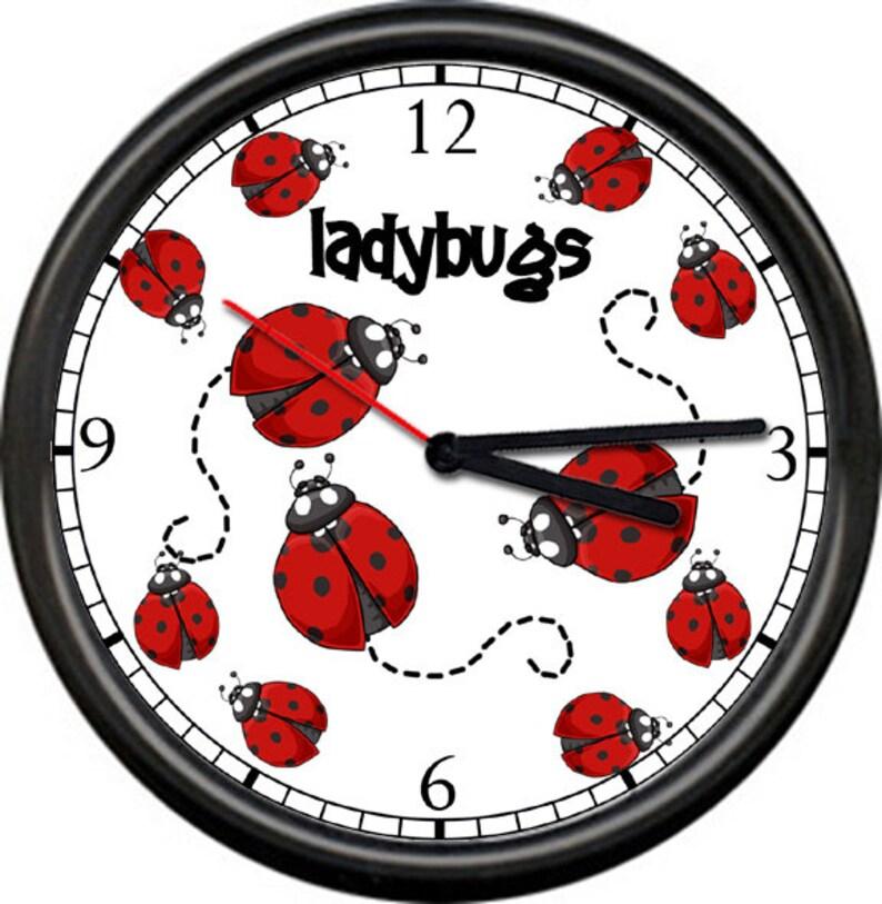 LADYBUG Wall Clock red ladybugs kitchen decor new gift