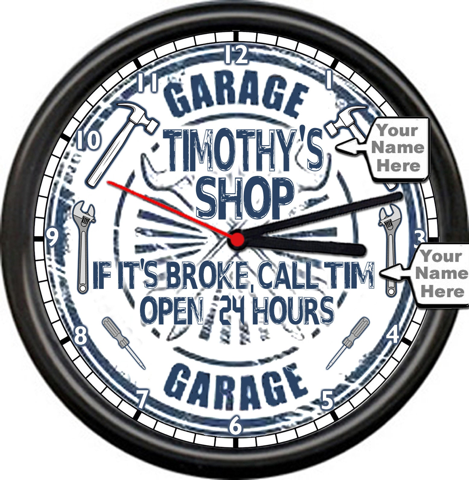 Personalized Name Garage Shop Dad's Open 24 Hours Man Cave