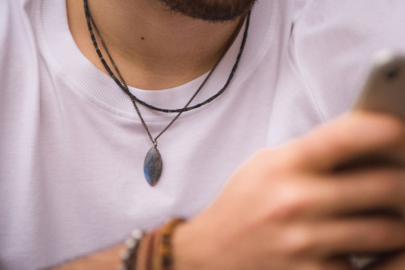 free shipping gift for him brass chain Labradorite mens vegan necklace
