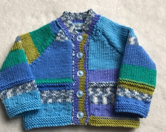 Baby cardigan, knitted baby sweater, blue baby cardigan, knitted baby clothes, blue baby sweater, 0-3 month baby knit, green baby sweater