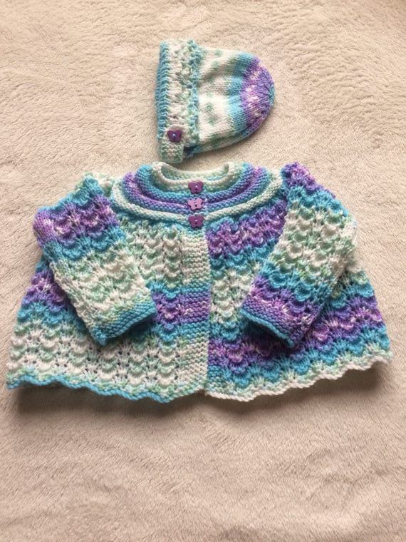 83c67d20608d Knitted Baby cardigan Matinee Jacket and Bonnet Set Baby